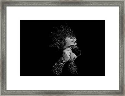 Photographer Camera Abstract Explosion Black And White Dripping Paint Splatter Framed Print by Andy Gimino