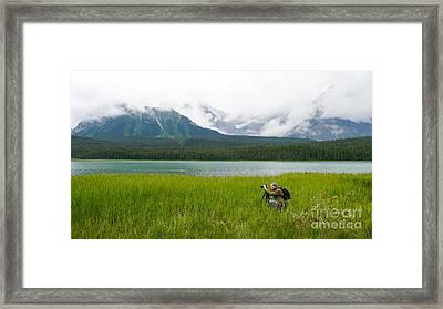 Photographer Edward M. Fielding In The Field Framed Print by Edward Fielding