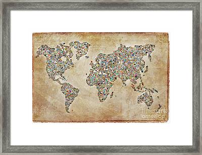 Photographer World Map Framed Print by Delphimages Photo Creations