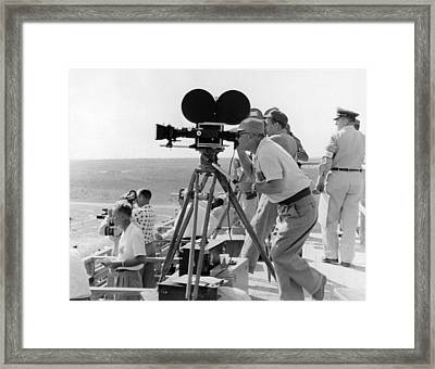 Photographers Filming An Event Framed Print by Underwood Archives