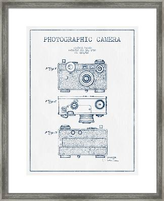 Photographic Camera Patent Drawing From 1938- Blue Ink Framed Print by Aged Pixel