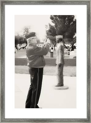 Photographing Ira Hayes Framed Print by Hugh Smith