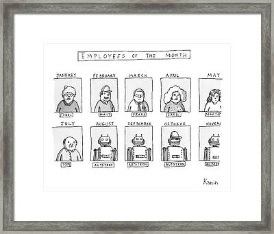 Photos Of The Employees Of The Month. Beginning Framed Print by Zachary Kanin