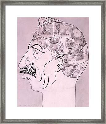 Phrenological Chart Of The German Framed Print by Oliver Herford