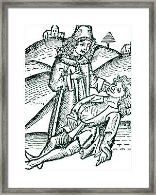 Physician Treating A Victim Of Poisoning Framed Print by Universal History Archive/uig