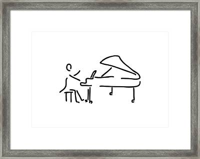 Pianist Musician Plays The Piano Framed Print by Lineamentum