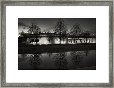 Piano Pavilion Bw Reflections Framed Print by Joan Carroll