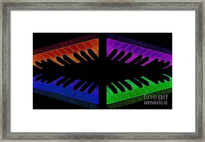 Piano Round Framed Print by Andee Design
