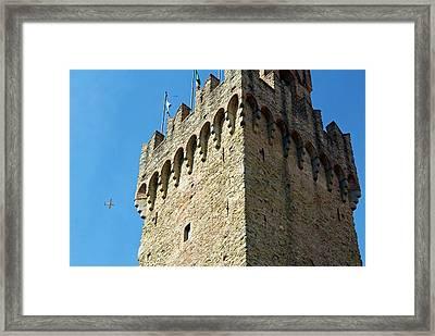 Piazza Della Libert?, Town Hall Tower Framed Print by Nico Tondini