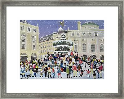 Piccadilly Snow Scene Framed Print by Judy Joel