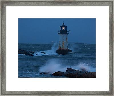 Pickering Lighthouse Hit By Storm Surge Framed Print by Jeff Folger