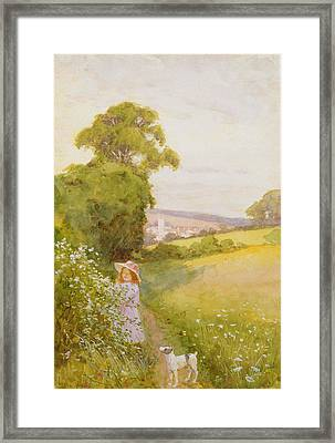 Picking Flowers  Framed Print by Thomas Frederick Mason Sheard