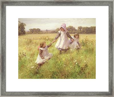 Picking Wild Flowers Framed Print by William Affleck