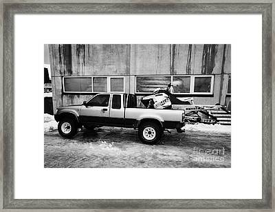 pickup truck parked carrying snowmobile Honningsvag finnmark norway europe Framed Print by Joe Fox