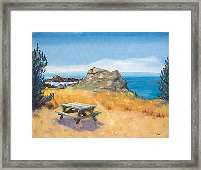 Picnic Table And Ocean With Yellow Field Framed Print by Asha Carolyn Young