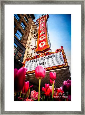Pictue Of Chicago Theatre Sign With Tracy Morgan Framed Print by Paul Velgos