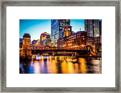 Picture Of Chicago At Night With Clark Street Bridge Framed Print by Paul Velgos