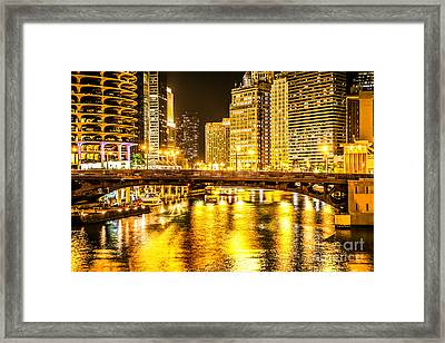 Picture Of Chicago Dearborn Street Bridge At Night Framed Print by Paul Velgos
