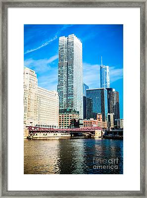Picture Of Chicago River Skyline At Franklin Bridge Framed Print by Paul Velgos