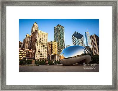 Picture Of Cloud Gate Bean And Chicago Skyline Framed Print by Paul Velgos