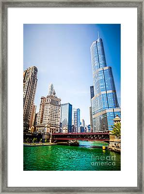 Picture Of Downtown Chicago With Trump Tower Framed Print by Paul Velgos