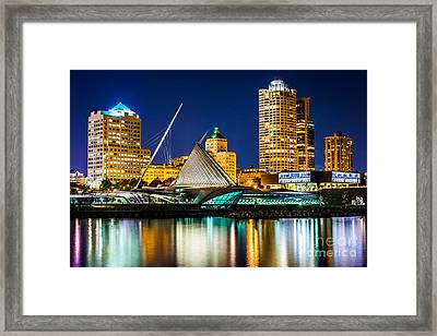 Picture Of Milwaukee Skyline At Night Framed Print by Paul Velgos