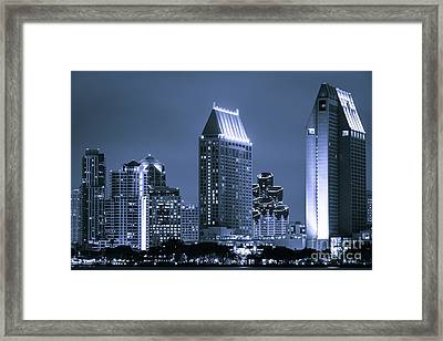 Picture Of San Diego Night Skyline Framed Print by Paul Velgos