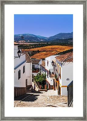 Picturesque Streets Of Ronda I. Spain Framed Print by Jenny Rainbow