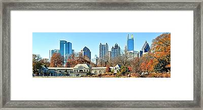 Piedmont Park Panoramic View Of Atlanta Framed Print by Frozen in Time Fine Art Photography