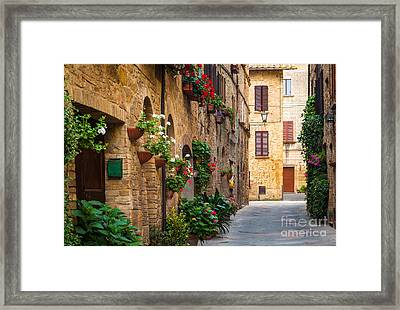 Pienza Street Framed Print by Inge Johnsson