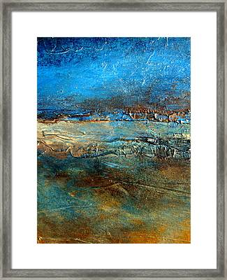Pier 39 Heavily Textured Contemporary Abstract Framed Print by Holly Anderson