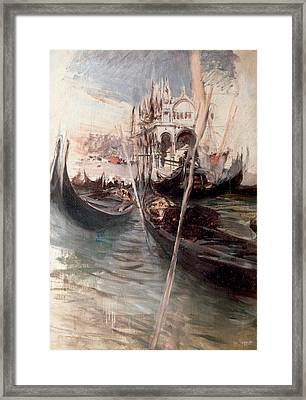 Pier And Saint Marc In Venice Framed Print by Giovanni Boldini