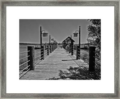 Pier At Fort Wilderness In Black And White Walt Disney World Framed Print by Thomas Woolworth