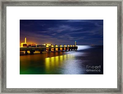 Pier At Night Framed Print by Carlos Caetano