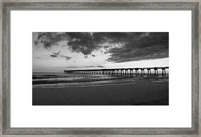 Pier In Black And White Framed Print by Sandy Keeton