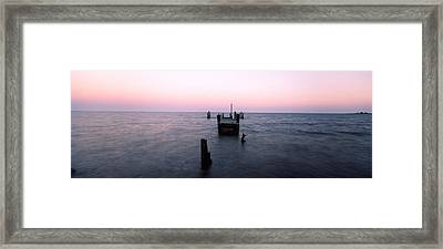 Pier In The Atlantic Ocean, Dilapidated Framed Print by Panoramic Images