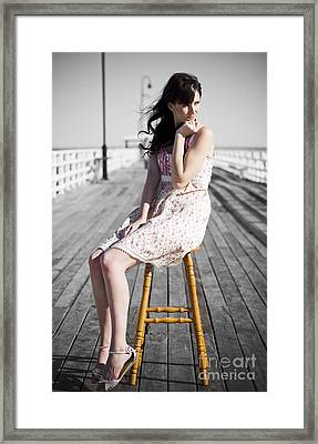 Pier Lady Pondering  Framed Print by Jorgo Photography - Wall Art Gallery