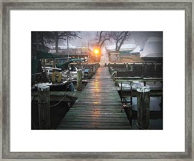 Pier Light - Watercolor Effect Framed Print by Brian Wallace