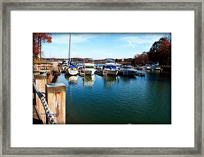 Pier Pressure - Lake Norman Framed Print by Paulette B Wright