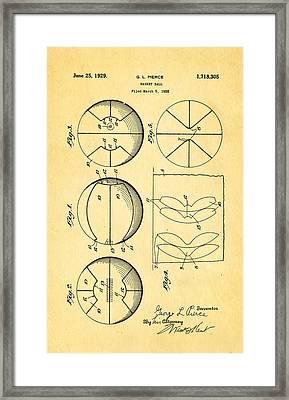 Pierce Basketball Patent Art 1929 Framed Print by Ian Monk