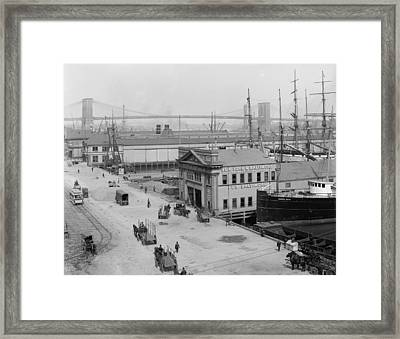 Piers Along South Street 1900 Framed Print by Stefan Kuhn