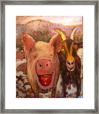 Pig And Goat Framed Print by Paul Emory