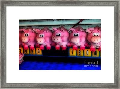 Piggy Race Framed Print by Skip Willits