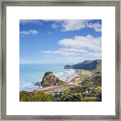 Piha And Lion Rock New Zealand Framed Print by Colin and Linda McKie