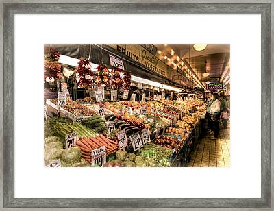Pike Place Veggies Framed Print by Spencer McDonald