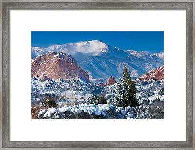 Pikes Peak In Winter Framed Print by John Hoffman