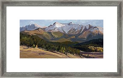 Pikes Peak Panoramic Framed Print by Mary Giacomini