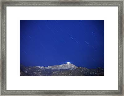 Pikes Peak Under The Stars Framed Print by Darren  White