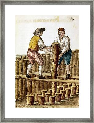 Pile Drivers, 18th Century Framed Print by Granger