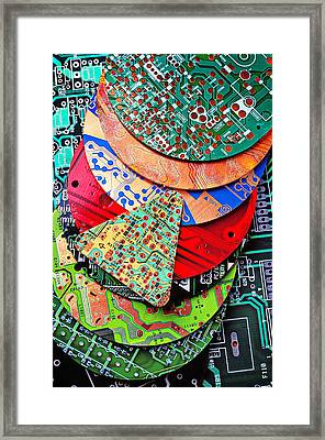 Pile Of Circuit Boards Framed Print by Garry Gay